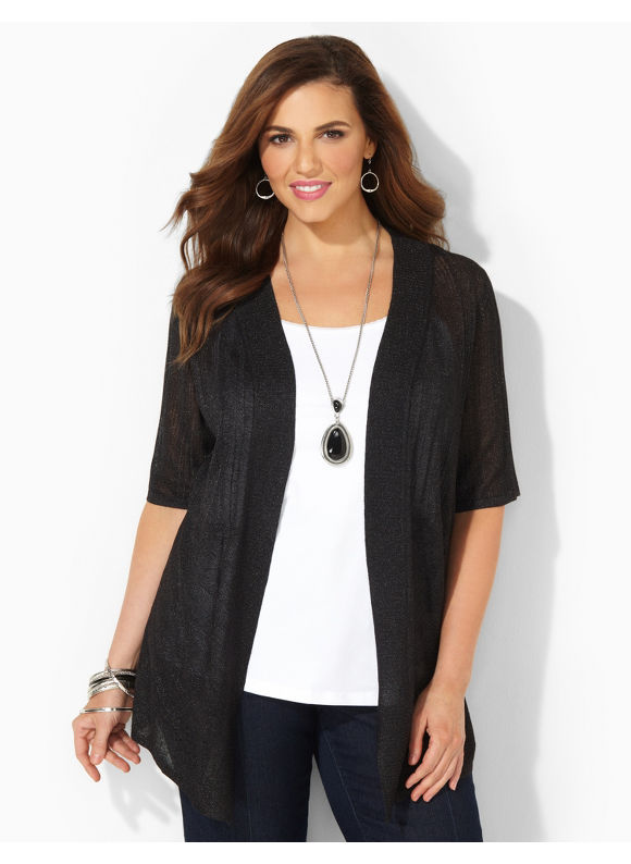 Image of Catherines Plus Size Bali Breeze Cardigan  Womens Size 3X Black
