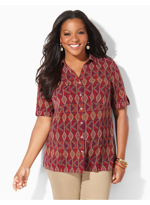 Image of Catherines Plus Size New Directions Blouse  Womens Size 0X Coffee Bean