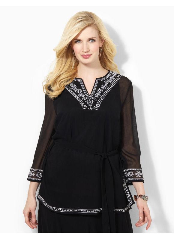 Image of Catherines Plus Size BlackWhite Fortuna Duet  Womens Size 0X BlackWhite