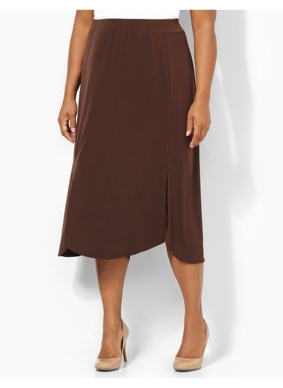 Image of Catherines Plus Size Slice Of Life Skirt  Womens Size 0X Coffee Bean