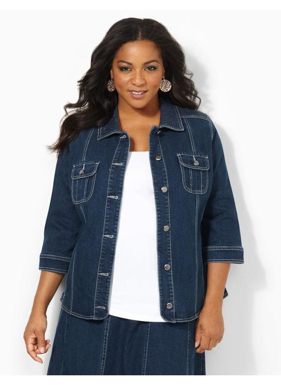 Image of Catherines Plus Size Denim Glow Jacket  Womens Size 1X Indigo