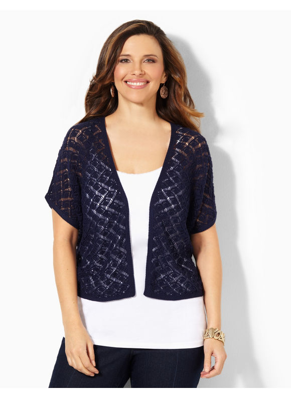 Image of Catherines Plus Size Afternoon Refresh Shrug  Womens Size 0X Mariner Navy