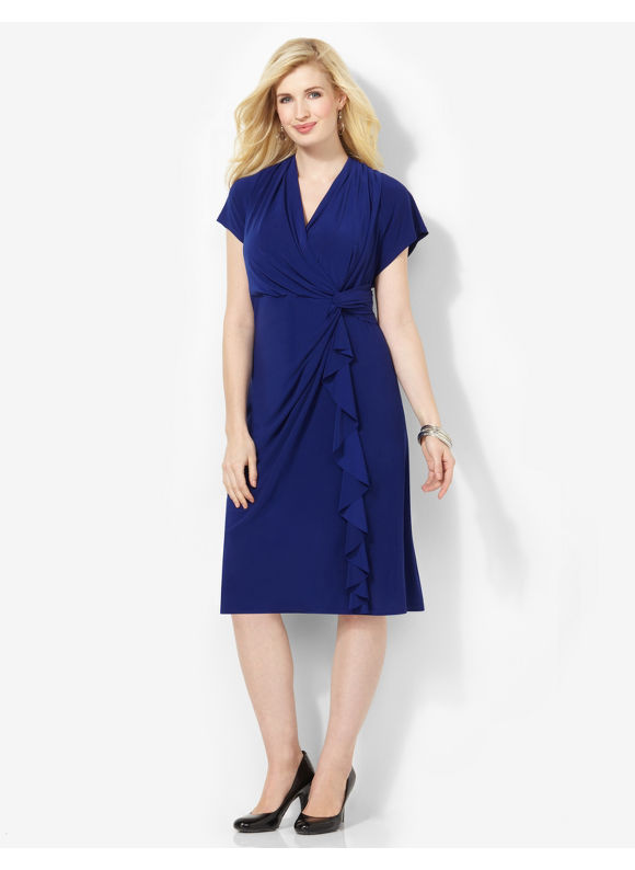 Image of Plus Size Flutter Cinched Dress Catherines Womens Size 2X Blue