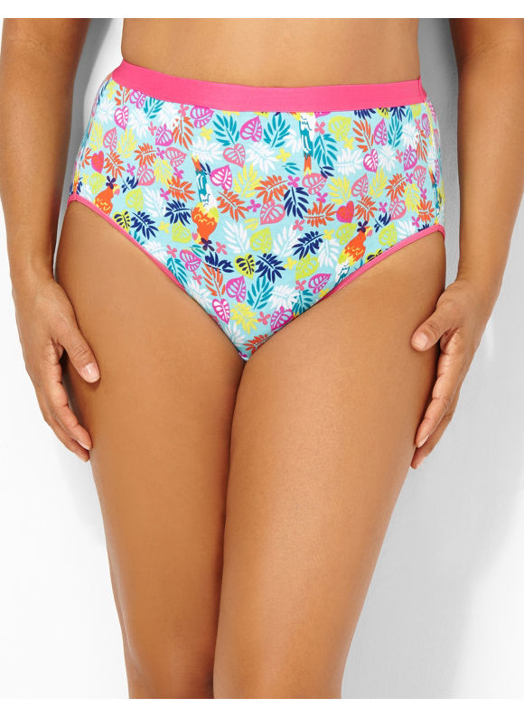 Image of Catherines Plus Size Tropics Cotton HiCut Brief  Womens Size 12 Pale Pink