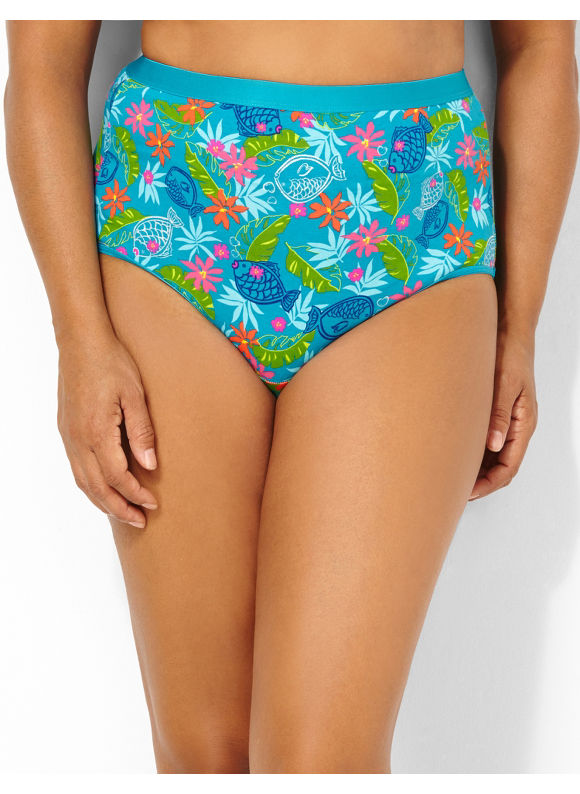 Image of Catherines Plus Size Carribean Cotton Full Brief  Womens Size 12 Blue