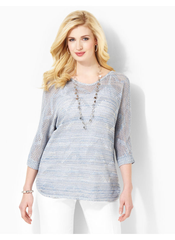 Image of Catherines Plus Size Piqued Interest Top  Womens Size 1X Light Blue