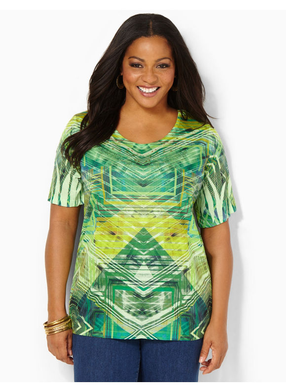 Image of Catherines Plus Size Atlas Top  Womens Size 0X Serene Green