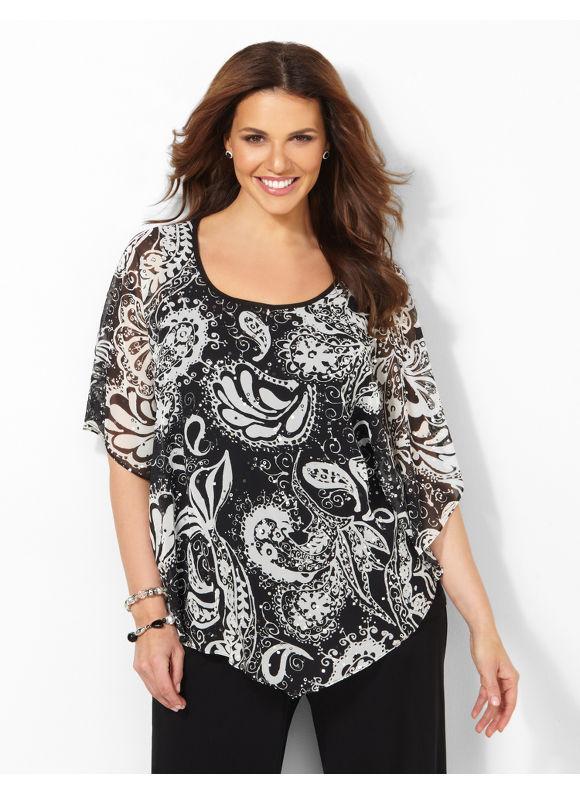 Image of Catherines Plus Size Paisley Noir Duet  Womens Size 1X2X3X0X Black