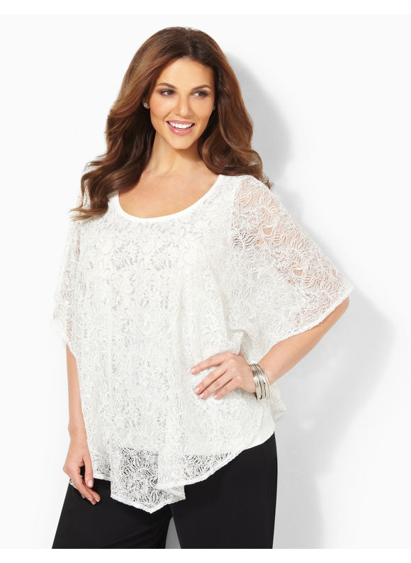 Image of Catherines Plus Size Shimmer Lace Duet  Womens Size 3X Light Beige