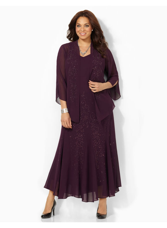 Catherines Plus Size 1012511 RM Richard Beaded Jacket Dress Womens Size 30W Purple Velvet $179.00 AT vintagedancer.com