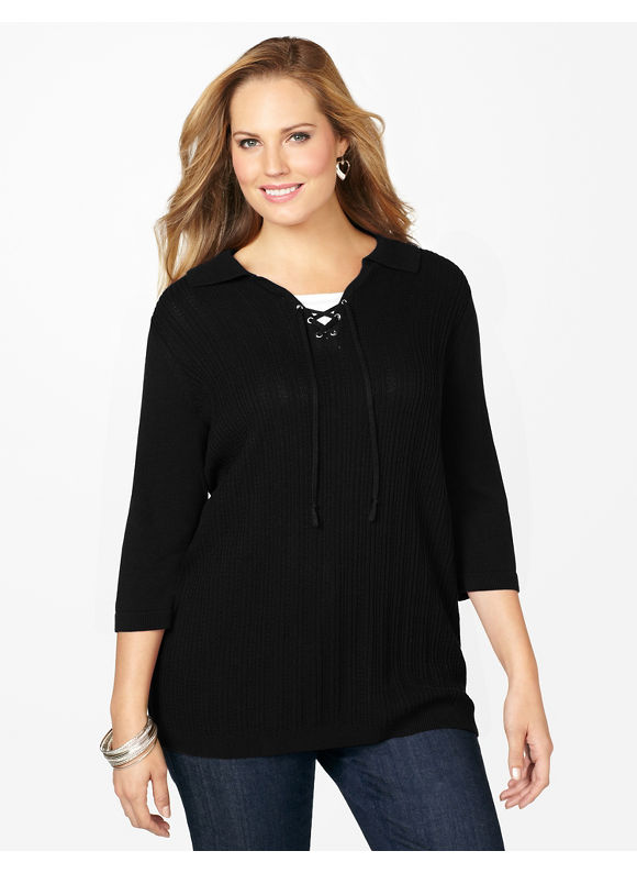 Catherines Plus Size Lace-Up Sweater - Women's Size 2X, Black