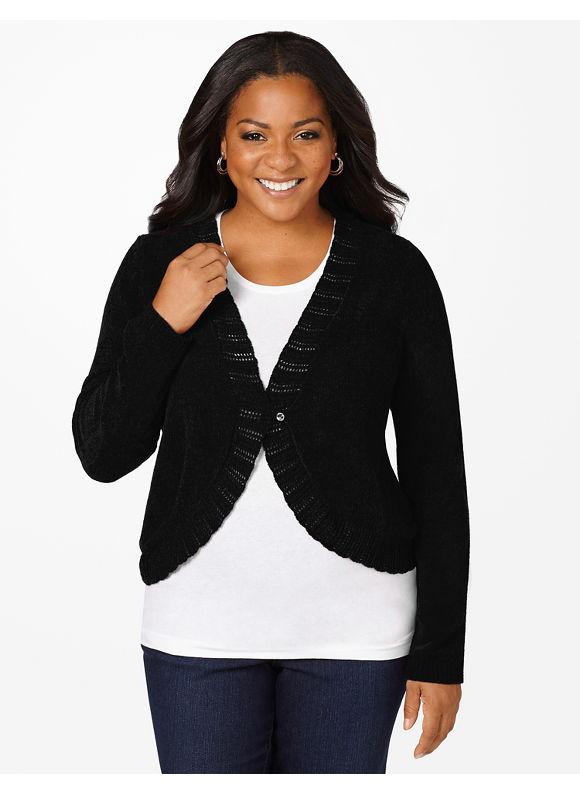 Catherines Plus Size Present Topper Shrug - Black