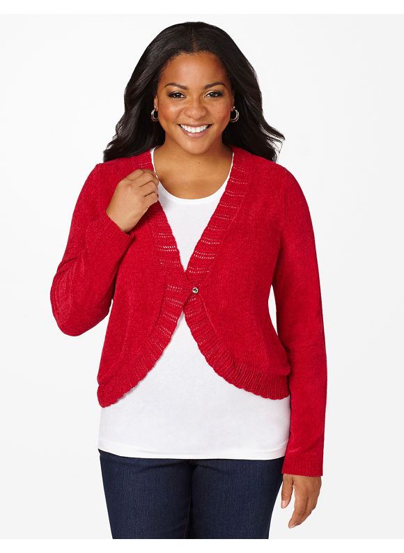 Catherines Plus Size Present Topper Shrug - Jester Red