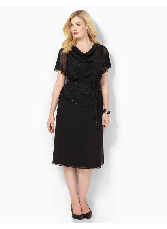 Plus Size Shimmer Illusion Dress Catherines Women's Size 1X, Black