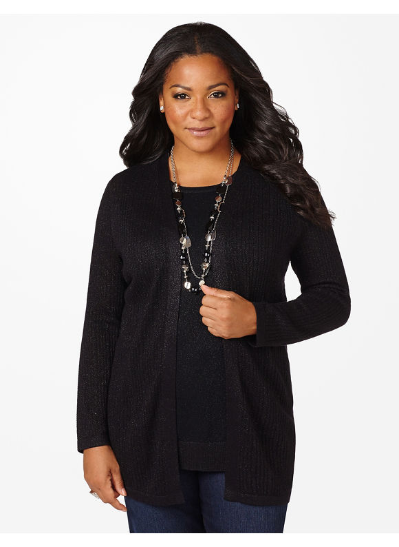 Catherines Plus Size Diamond Shine Cardigan - Women's Size 1X, Black