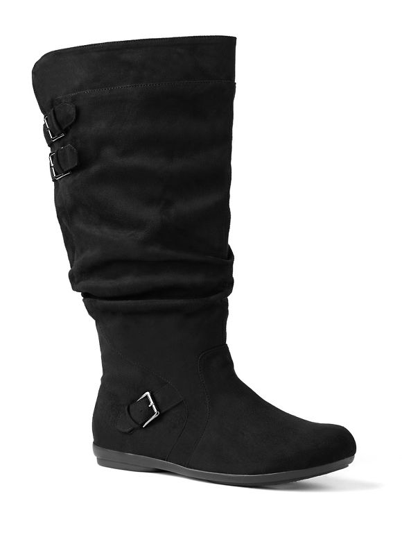 Catherines Plus Size Ruched Sueded Boot - Women's Size 8 W  Black