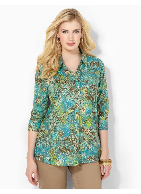 Image of Catherines Plus Size Paisley Mix Shirt  Womens Size 0X Multi