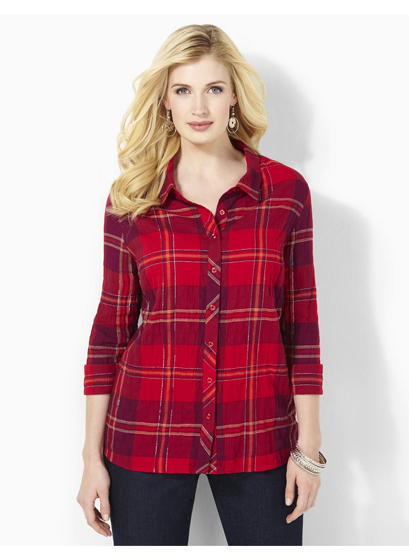 Catherines Plus Size Soft Plaid Shirt - Women's Size 3X, Red