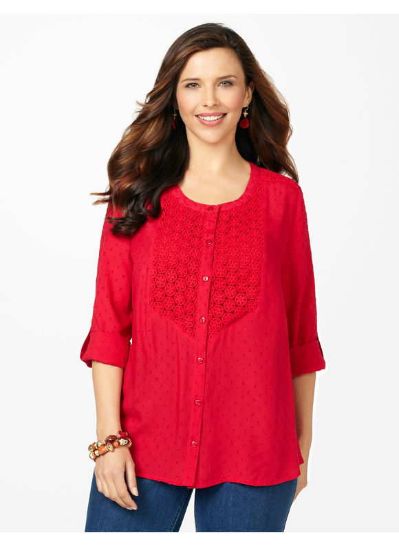 Catherines Plus Size Swiss Dot Tunic - Red