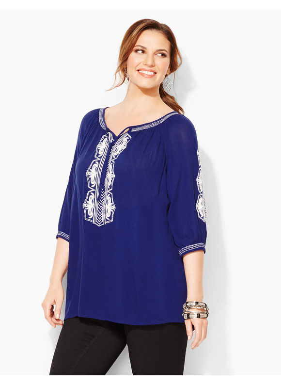 Plus Size Santorini Peasant - Modern Blue Catherines