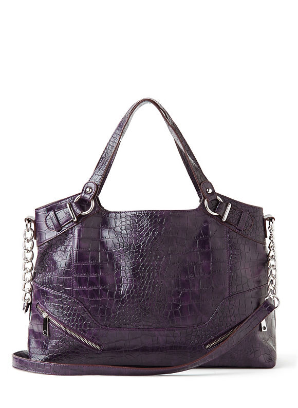 Catherines Plus Size Patent Crocodile Tote - Women's Size One Size  Purple