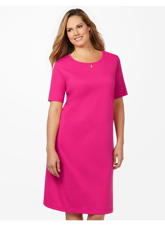 Catherines Plus Size Keyhole Sleepshirt - Dark Pink