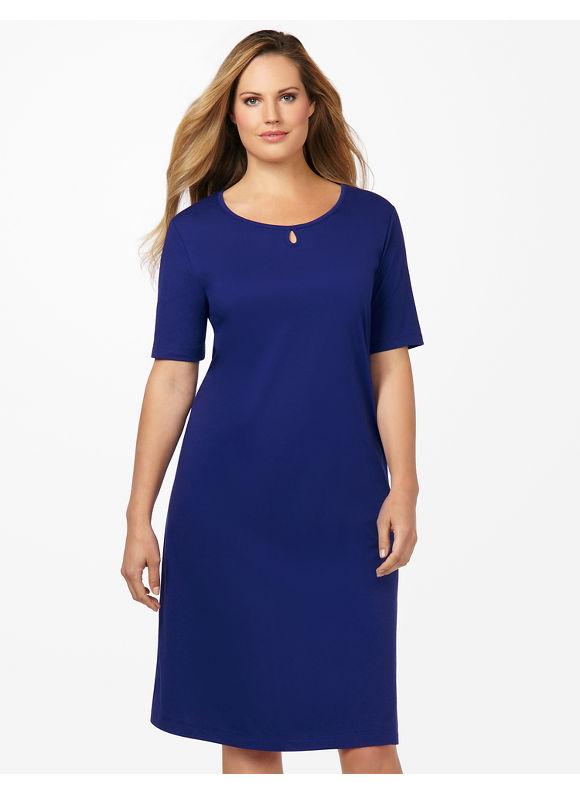 Catherines Plus Size Keyhole Sleepshirt - Horn Blue
