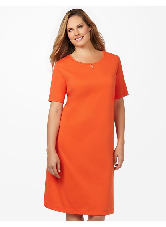 Catherines Plus Size Keyhole Sleepshirt - Orange Blossom