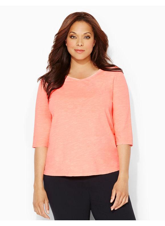 Catherines Plus Size Neon Active Tee - Lush Peach