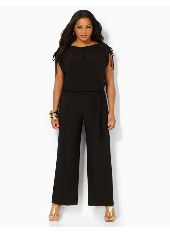 Catherines Plus Size Modern Mix Jumpsuit - Women's Size 1X,2X,3X,0X, Black