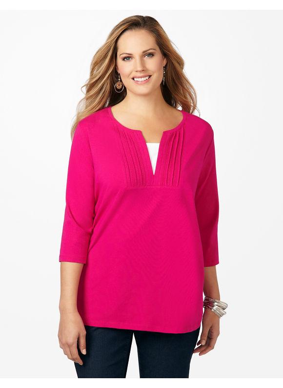 Catherines Plus Size Pintuck Tee - Women's Size 2X, Dark Pink