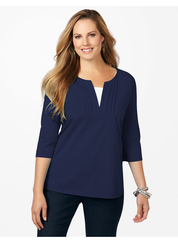 Catherines Plus Size Pintuck Tee - Mariner Navy