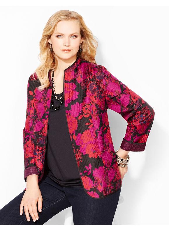 Catherines Plus Size Floral Herringbone Reversible Jacket - Midnight Floral