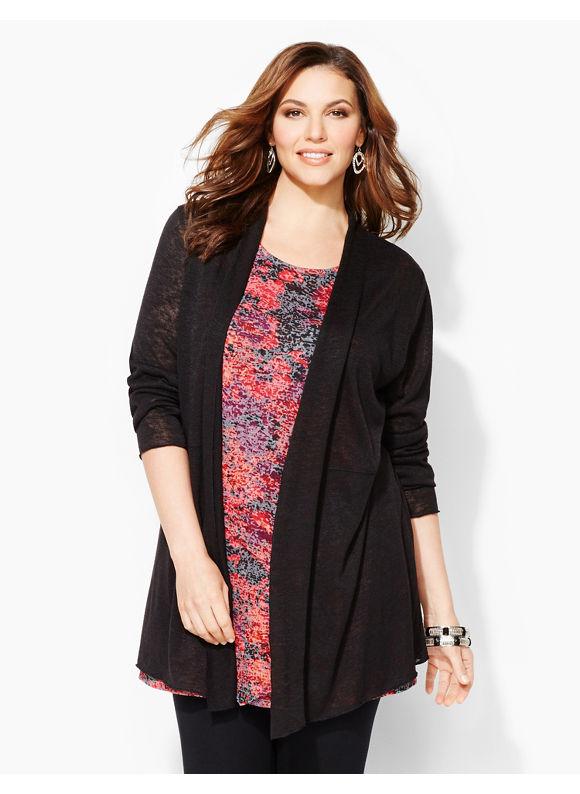 Catherines Plus Size Brookfield L'Attitude Cardigan - Women's Size 0X, Black