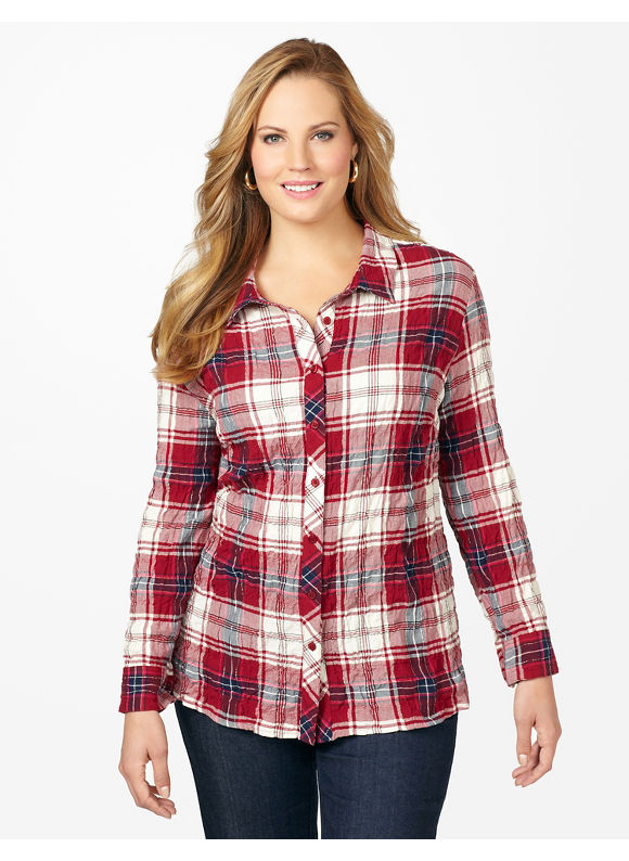 Catherines Plus Size Campfire Shirt - Deep Scarlet