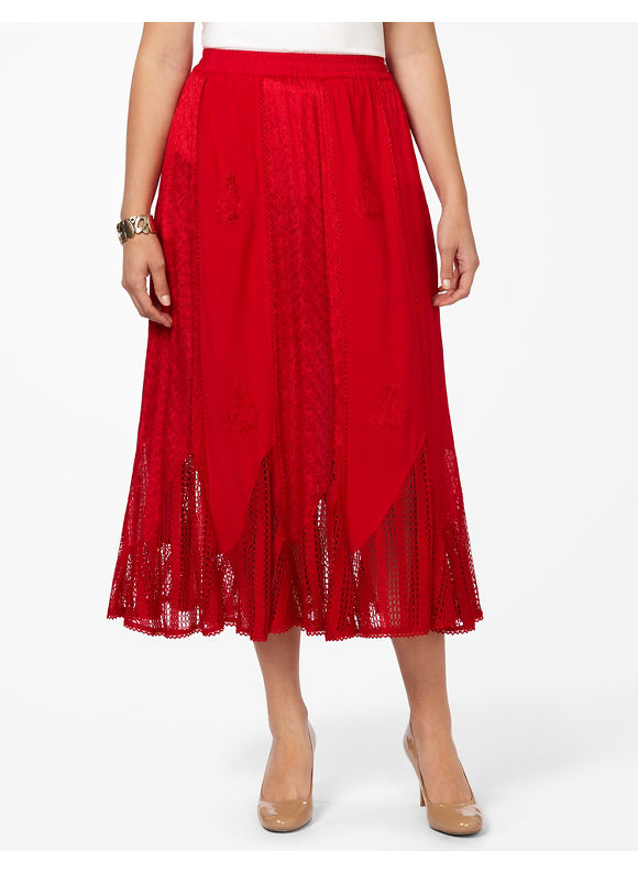 Catherines Plus Size Delicacy Skirt -  Red
