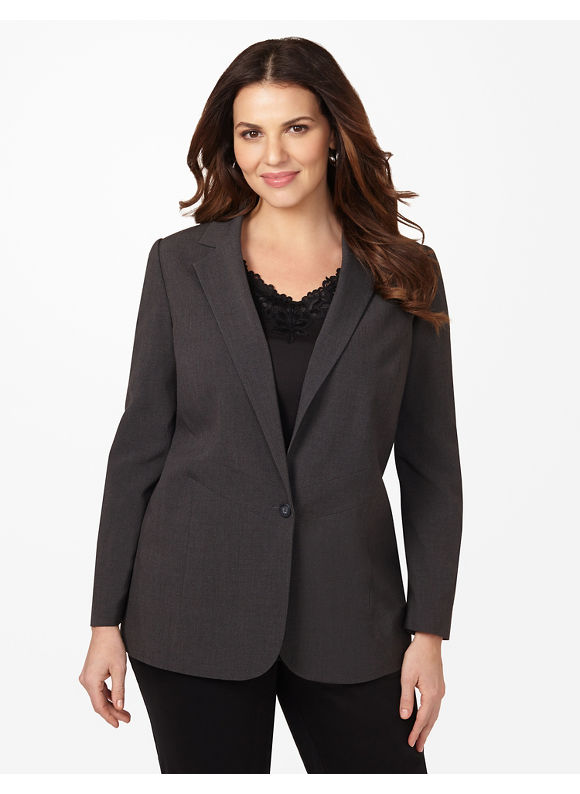 Catherines Plus Size Sharp Style Blazer - Heather Grey