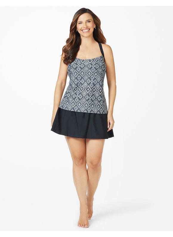 Catherines Plus Size New Illusion Swimdress - Women's Size 22W  Black