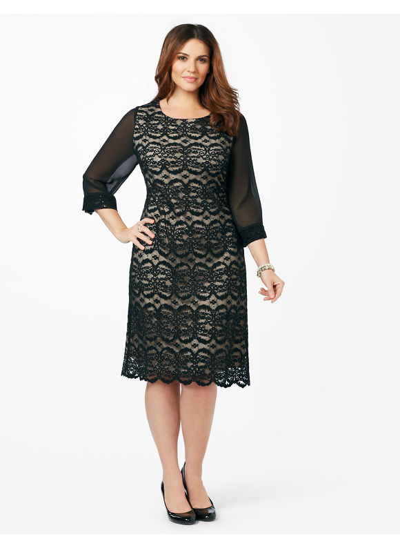 Plus Size Affinity Lace Dress Catherines Women's Size 20W, Black
