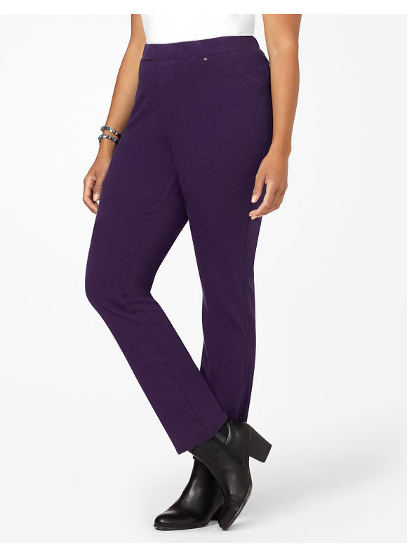 Catherines Plus Size The Knit Jean - Women's Indigo, Medium Stone