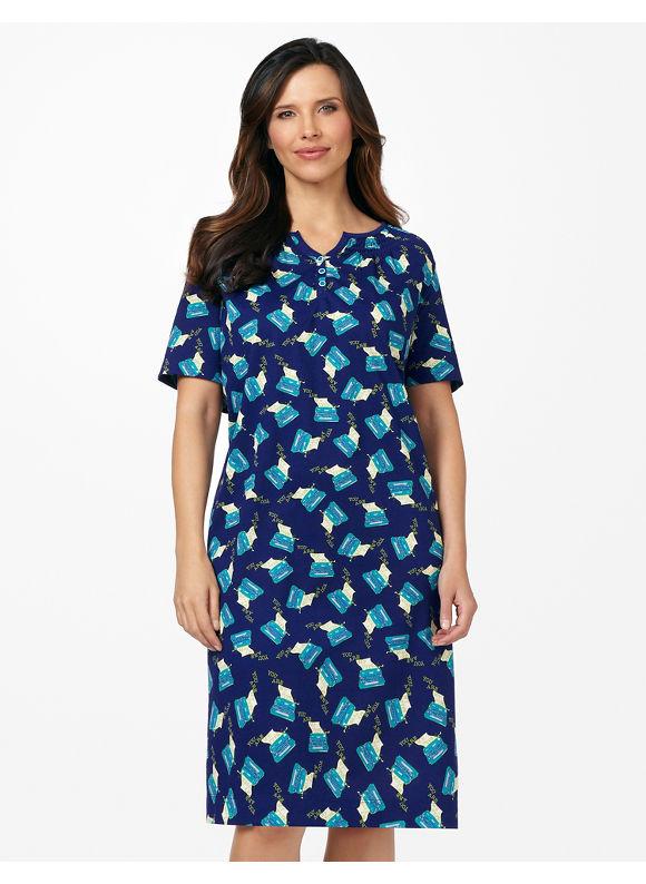 Catherines Plus Size You're My Type Smock Sleepshirt - Modern Blue