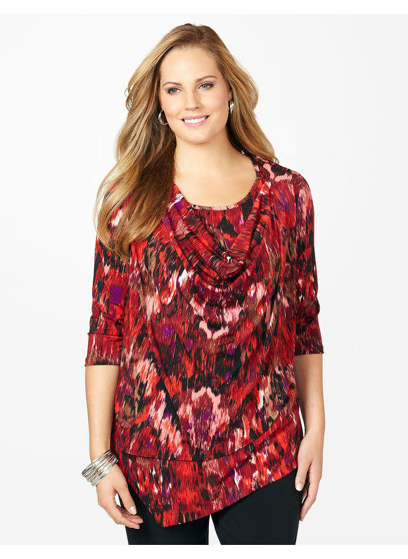 Plus Size Graceful Cowlneck Top - Maroon Print Catherines