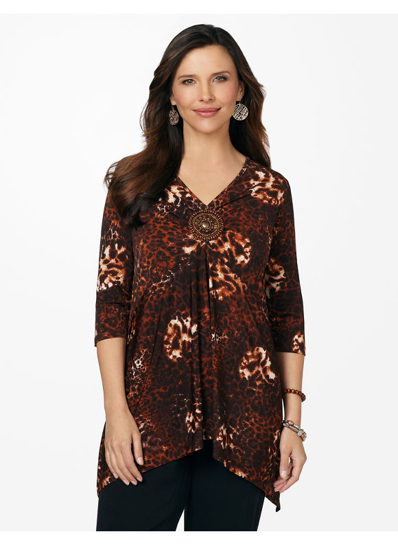 Catherines Plus Size Leopard Mix Top - Seed Pearl