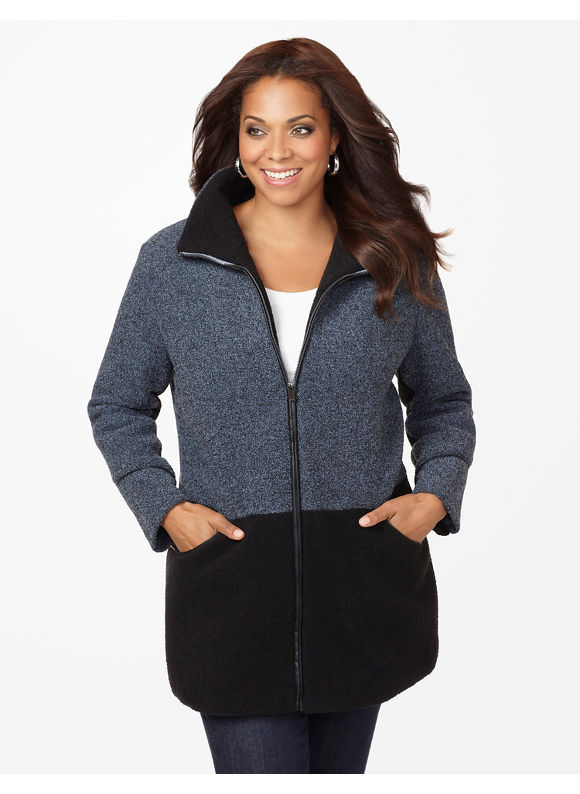 Catherines Plus Size Le Deux Boucle Coat - In The Blue