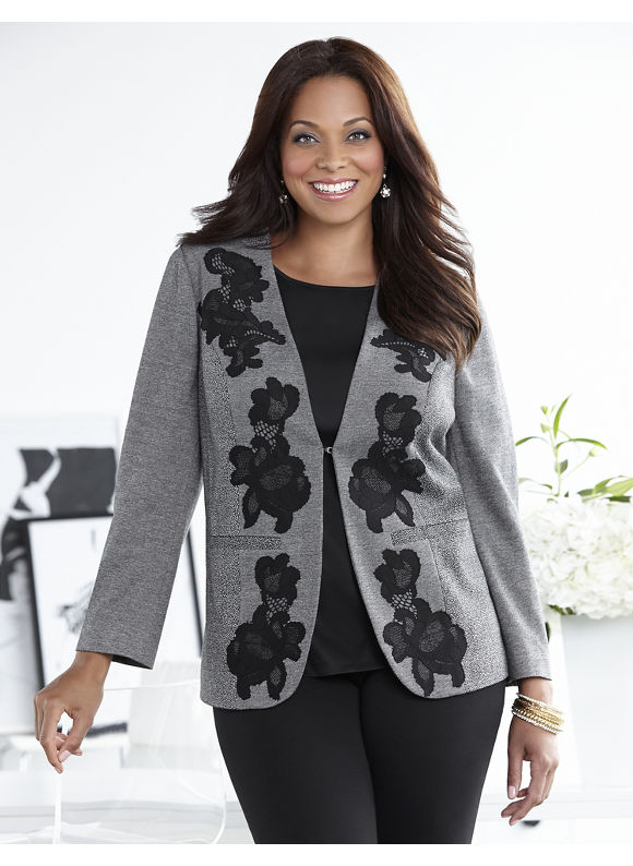 Catherines Plus Size Midtown Lace Jacket - Women's Size 3X, Gray