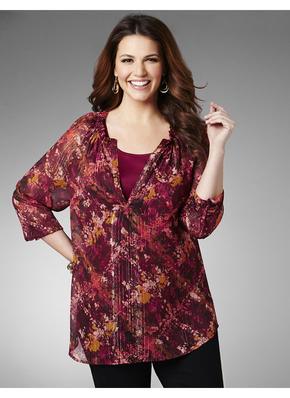 Catherines Plus Size Abstract Plaid Blouse - Women's Size 1X, Metal Wine