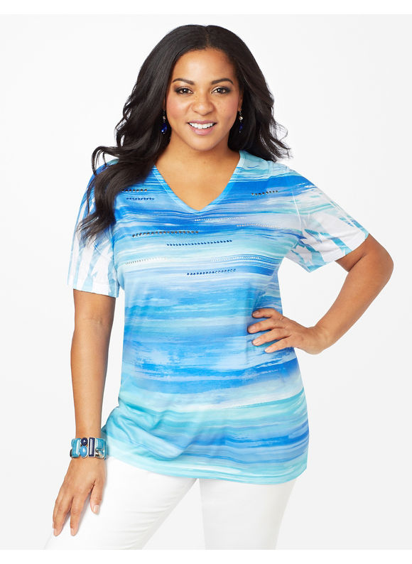 Image of Catherines Plus Size Skies Top  Womens Size 1X2X3X0X Blue
