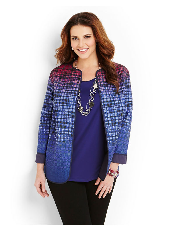 Catherines Plus Size Geo Reversible Jacket - Midnight Blue