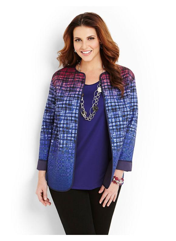 Catherines Plus Size Geo Reversible Jacket - Midnight Blue