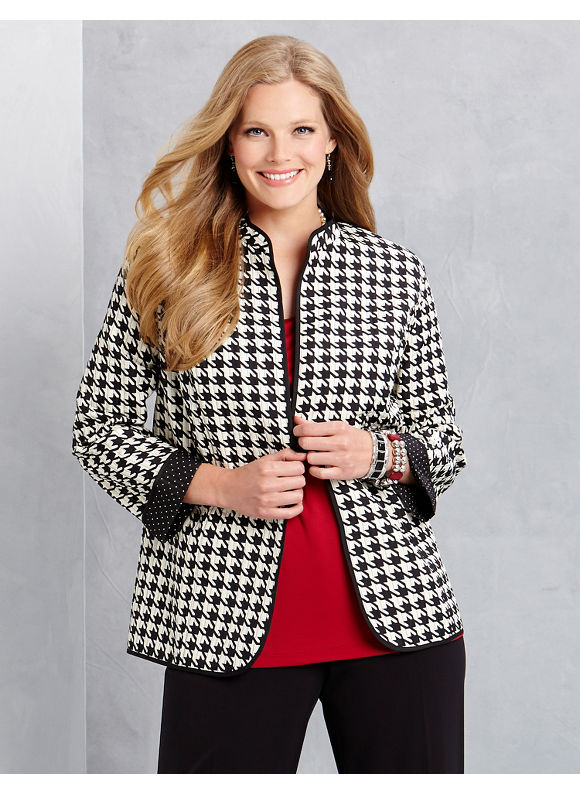 Catherines Plus Size Houndstooth Reversible Jacket - Seed Pearl